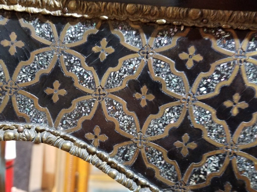 18thc style inlaid game table with ormolu, c.1900 - 3