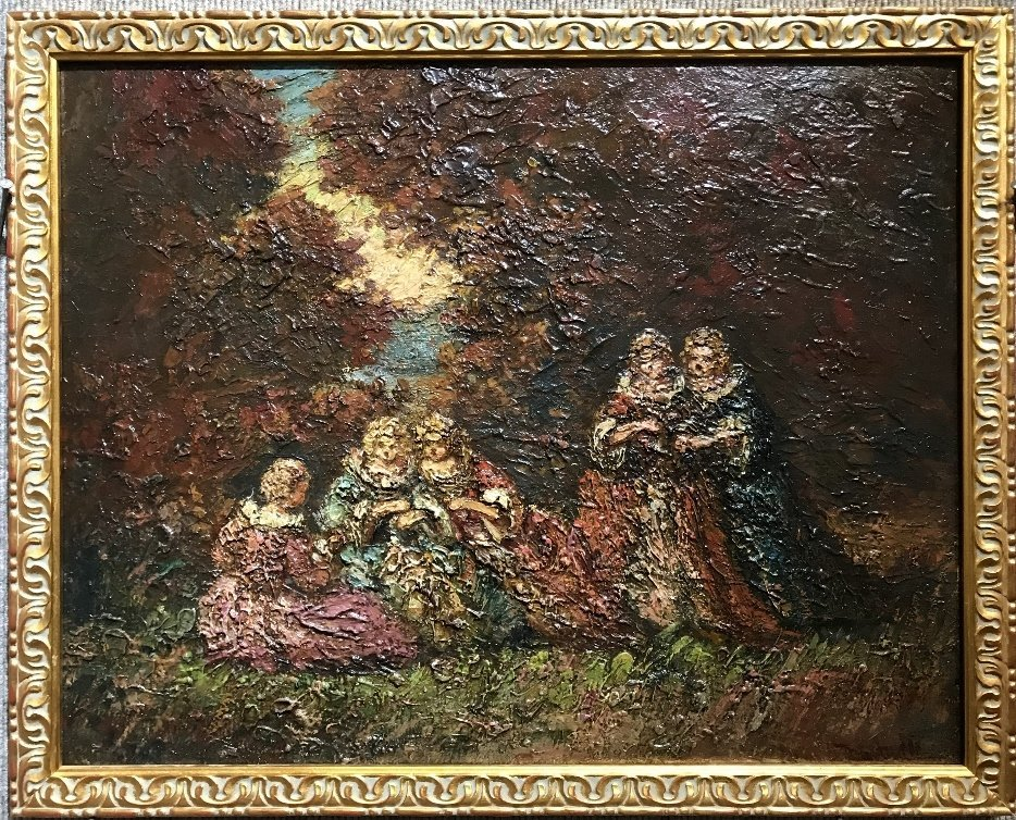 Ptg of garden party by Adolphe Monticelli-5 people