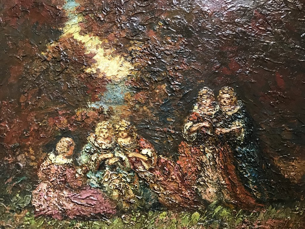 Ptg of garden party by Adolphe Monticelli-5 people - 5