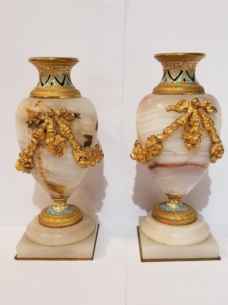 Pair of onyx and gilt bronze small vases, c.1900