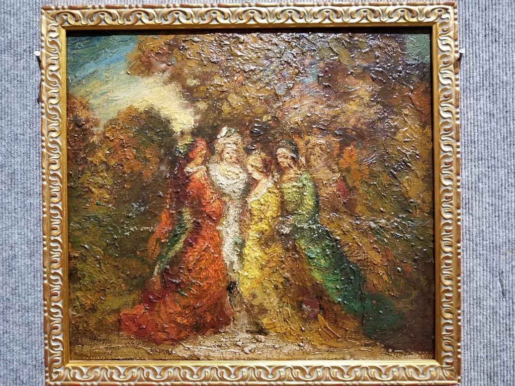 Ptg of garden party by Adolphe Monticelli-4 people