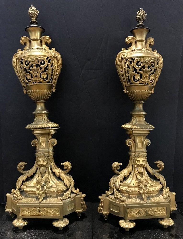 Pair of gilt bronze girandoles, c.1900