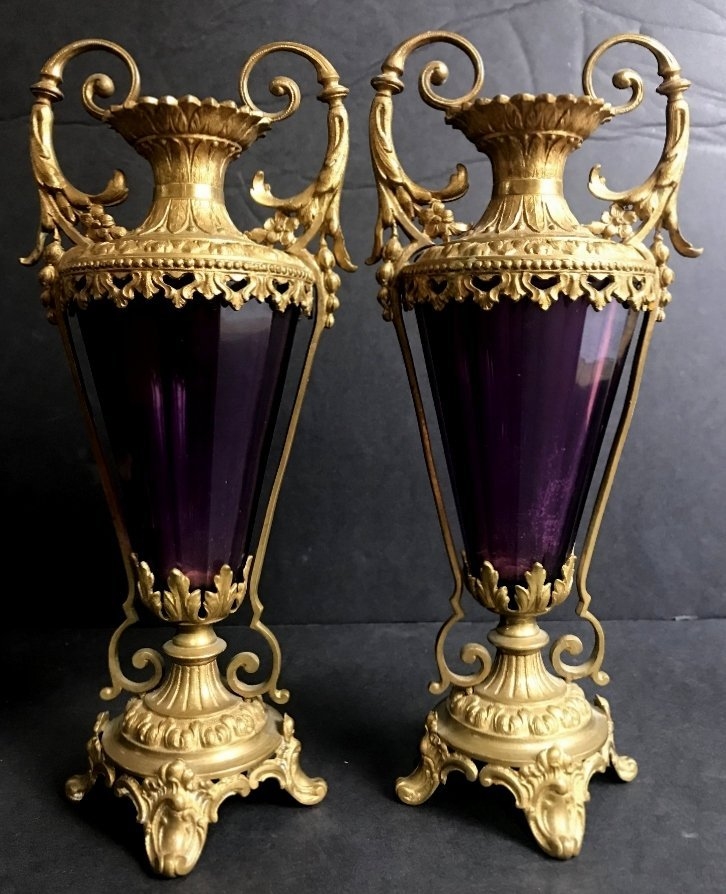 Pair of amethyst glass and gilt metal small vases