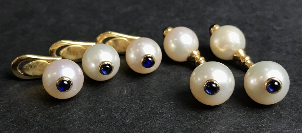18k pearl and sapphire tuxedo set, 8 dwts