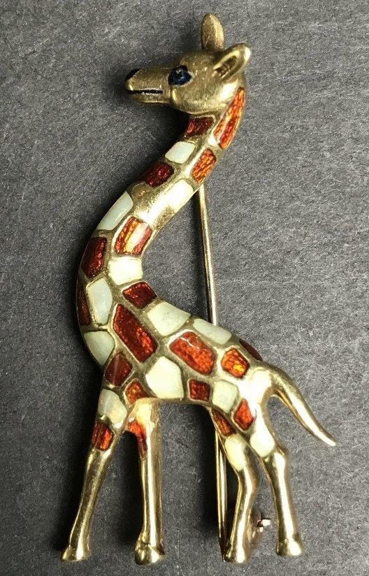 14k enamel giraffe pin, c.1965, 5.1 dwts