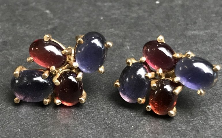 14k ruby and sapphire cabochon earrings, 3.1 dwts - 2