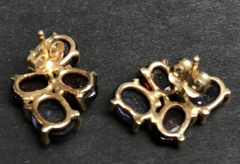 14k ruby and sapphire cabochon earrings, 3.1 dwts - 3