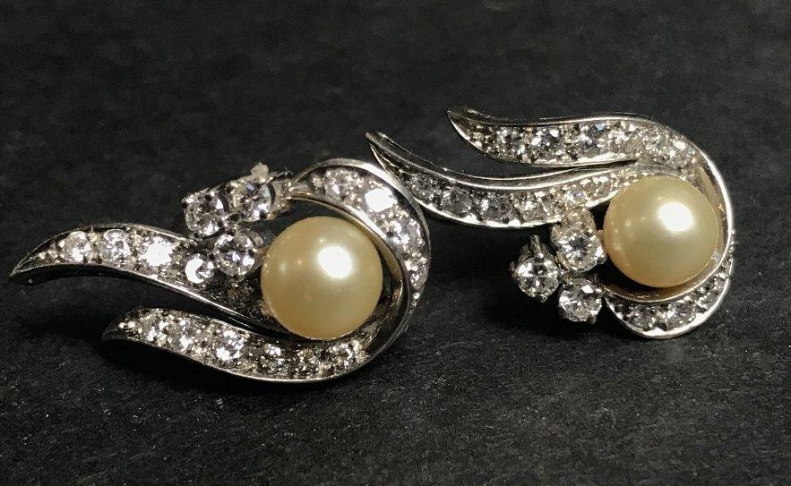18k pearl and diamond earring clips, circa 1940.