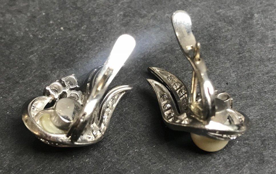 18k pearl and diamond earring clips, circa 1940. - 3