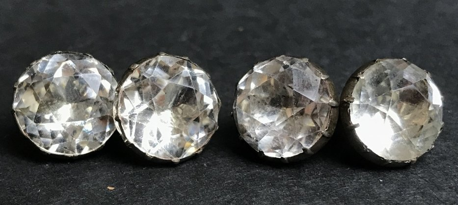 Silver and white stone cufflinks, c.1900, 0.2 t.oz