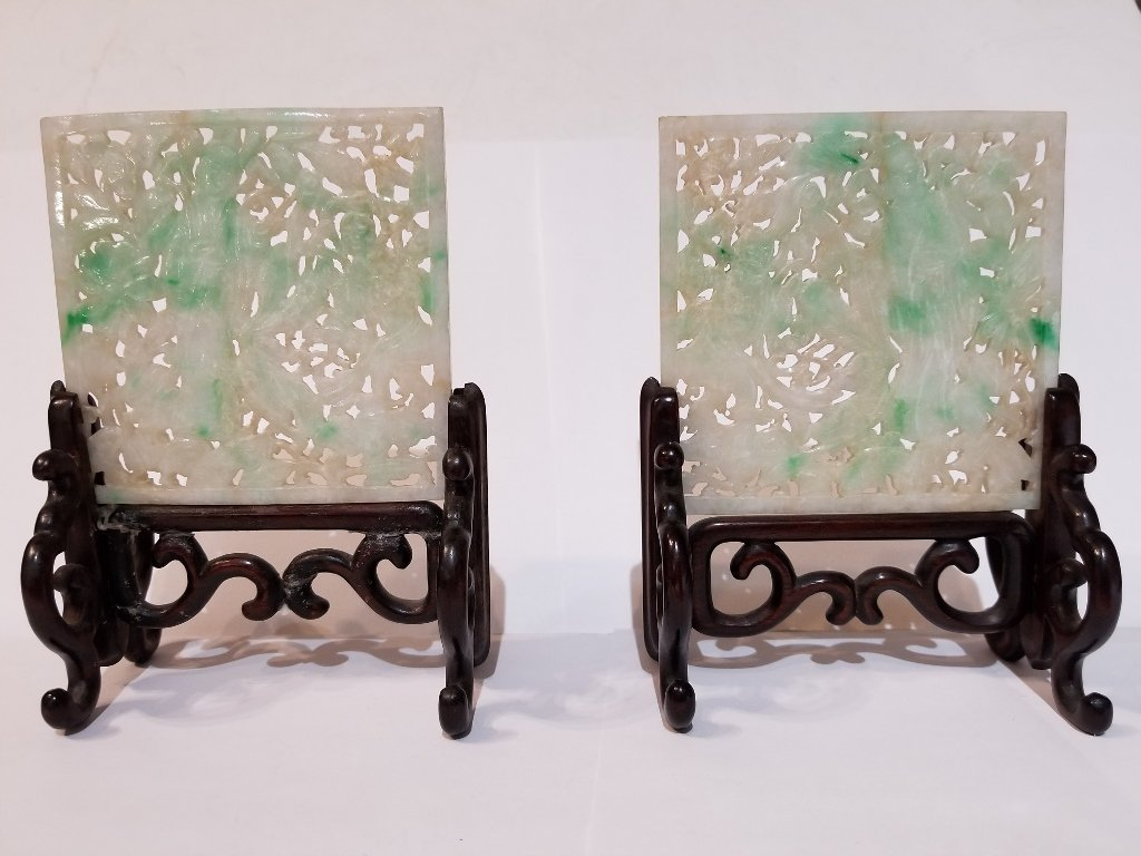 Pair of jade screens, c.1900