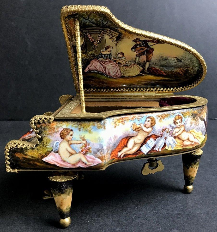 Vienna enamel music box, circa 1900