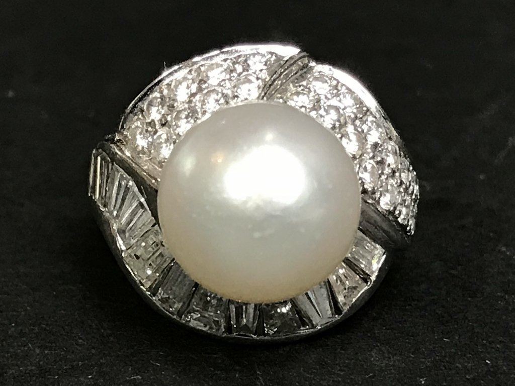 Platinum, diamond and 12mm South Sea pearl ring, 11.3