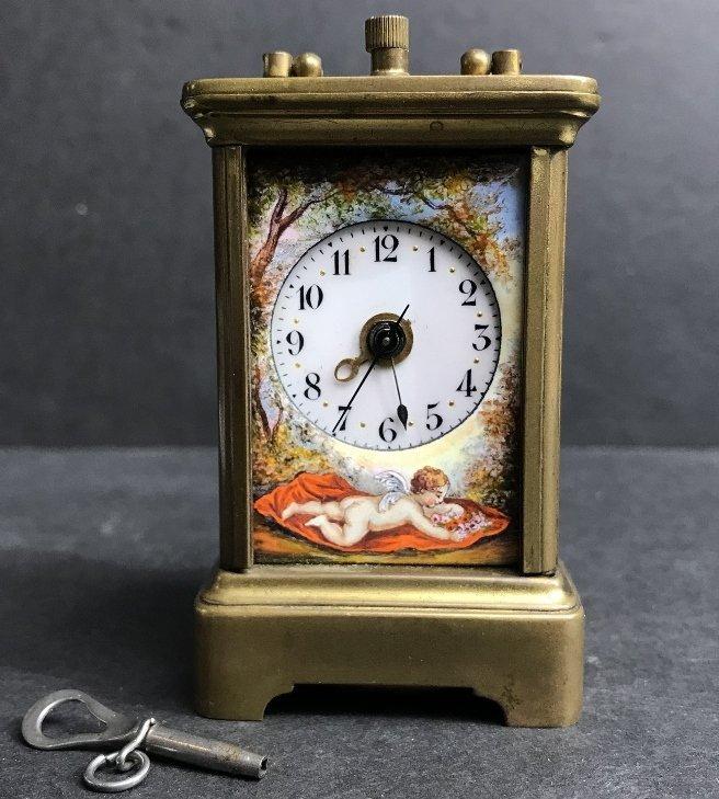 Vienna enamel small clock, c.1900
