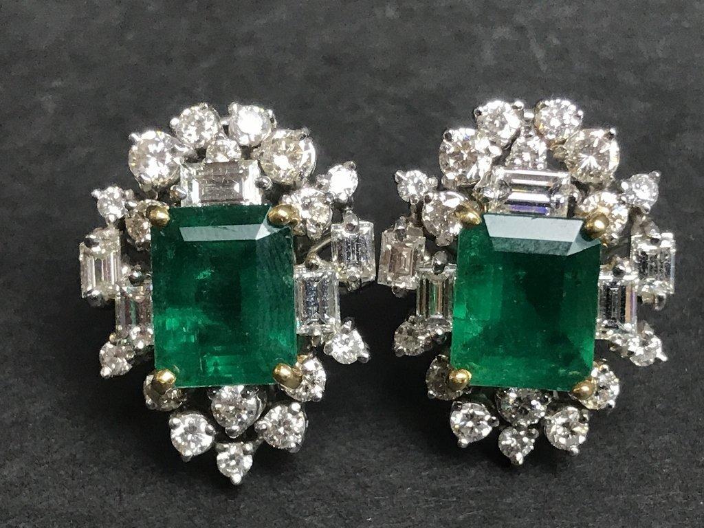 18k emerald and diamond earrings, 8.7 dwts - 2