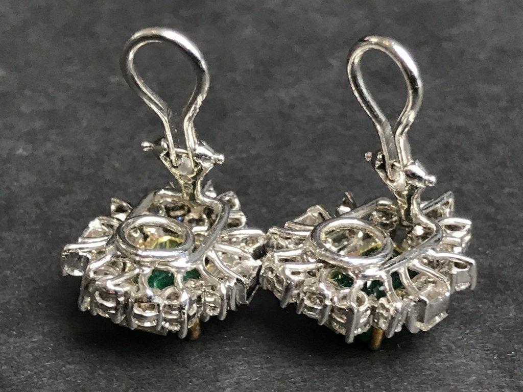 18k emerald and diamond earrings, 8.7 dwts - 4