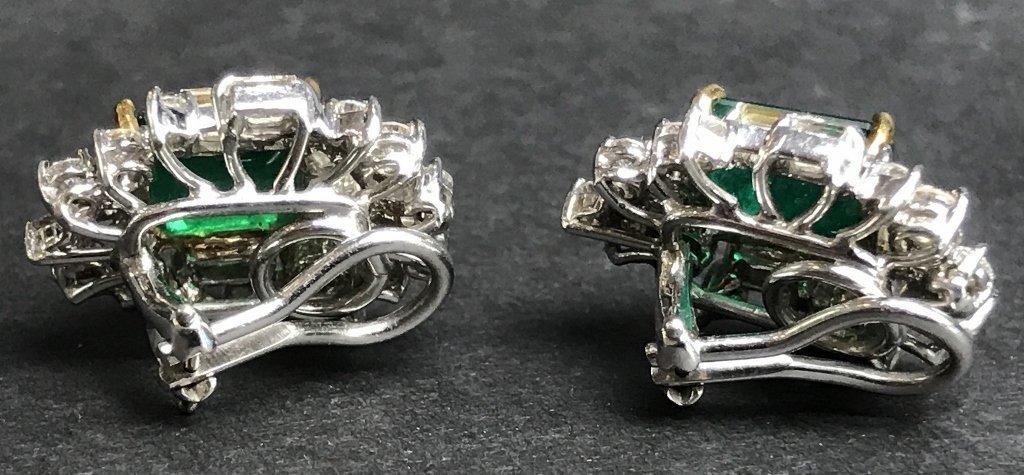 18k emerald and diamond earrings, 8.7 dwts - 6