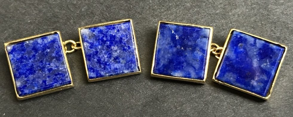 Lapis and 18k gold cufflinks, 4.1 dwts
