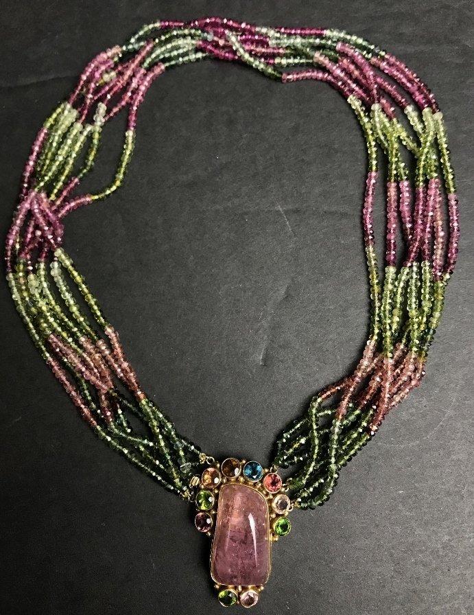 14k peridot, rose quartz necklace