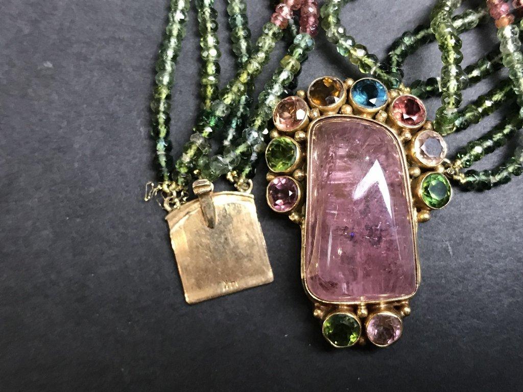14k peridot, rose quartz necklace - 4