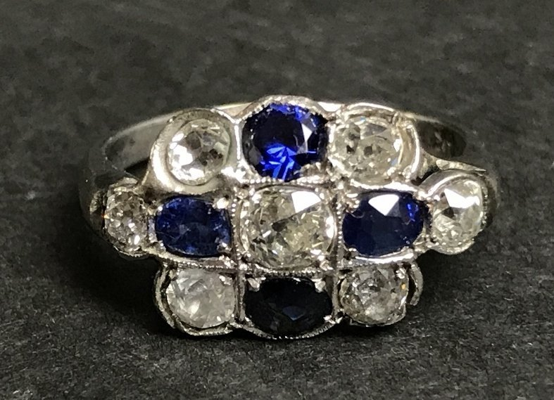 14k sapphire and diamond ring, c.1920, 2 dwts