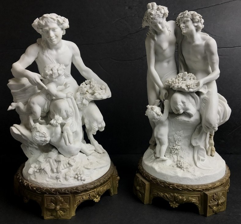 Pair of bisque classical figurines, c.1900