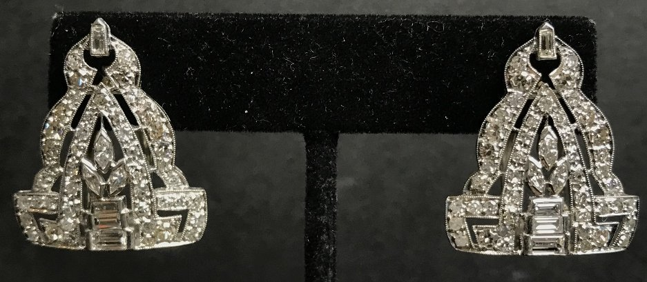 Platinum diamond clips made into earrings, 7.1 dwts