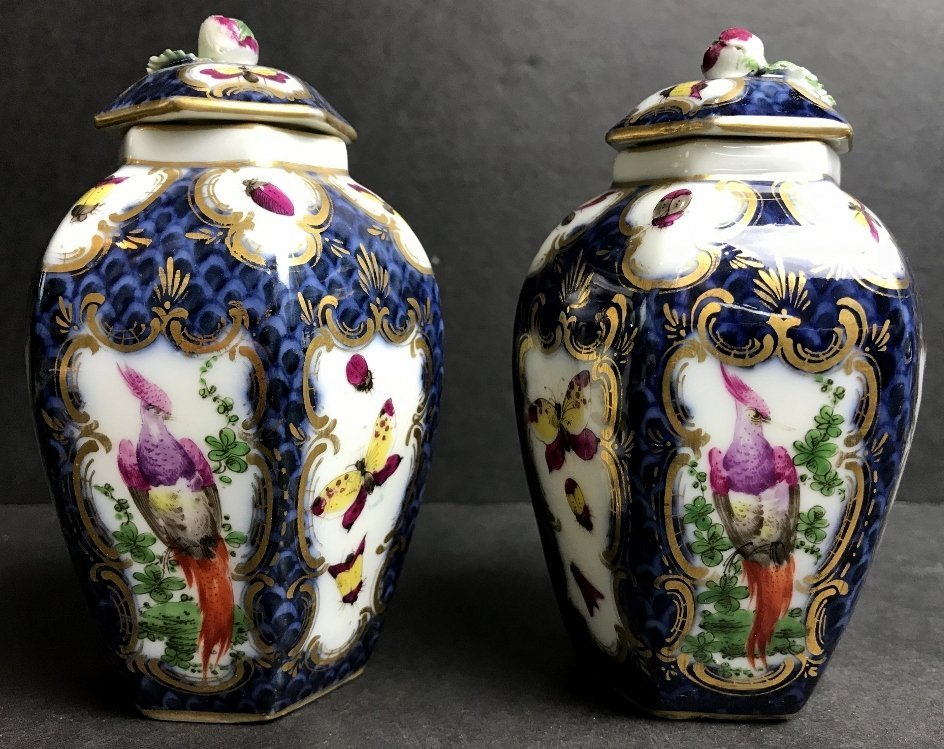 Pair of covered small vases, c.1880