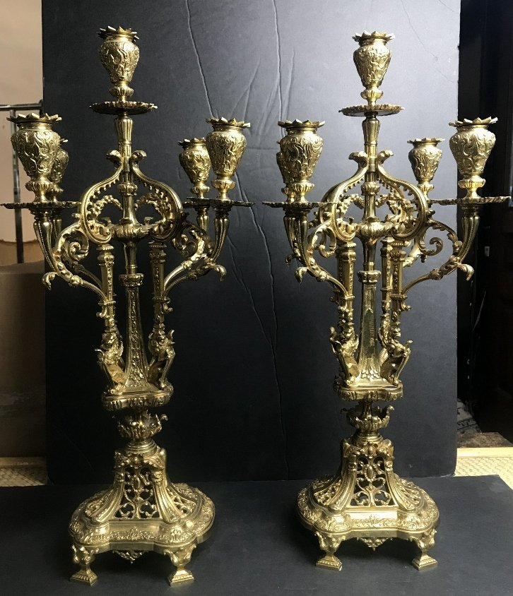 Pair of gilt bronze candelabra, c.1890.