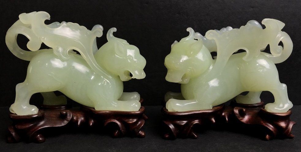 Pair of Chinese hardstone winged lions, c.1960