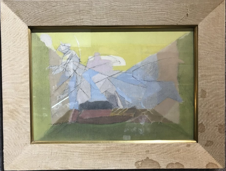 Tempera on board painting by Jacques Villon, 1950