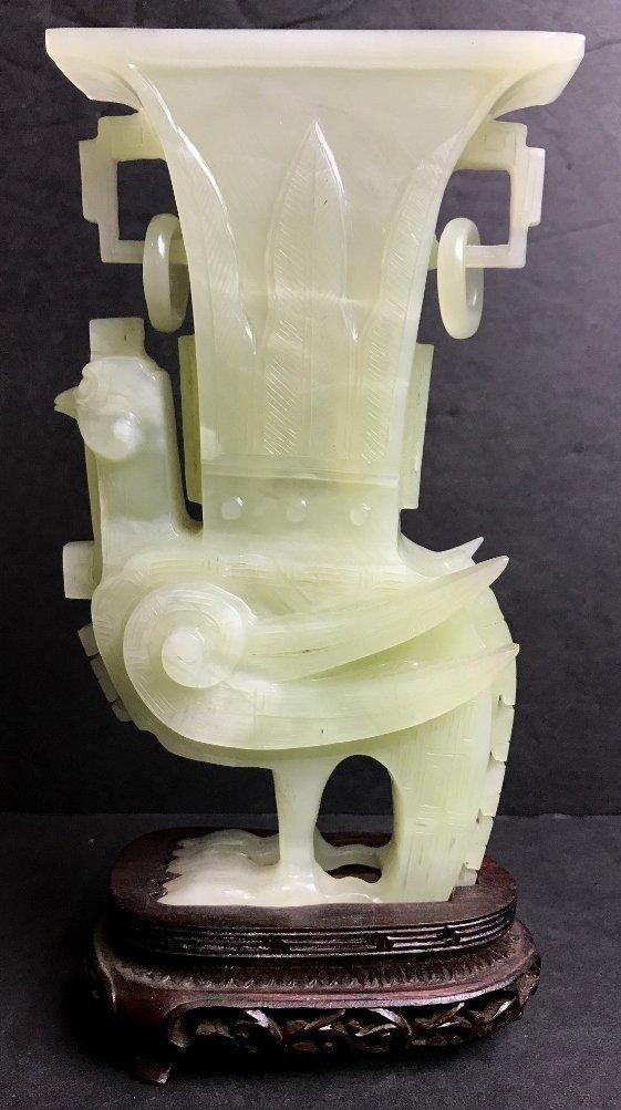 Chinese serpentine carving, winged bird vase, c.1965