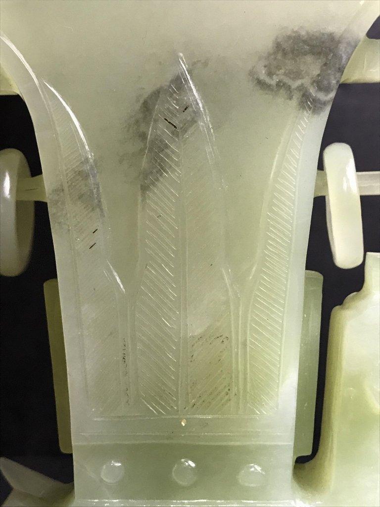 Chinese serpentine carving, winged bird vase, c.1965 - 9