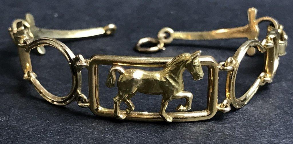 14k horse riding bracelet, 1930s, 6.1 dwts