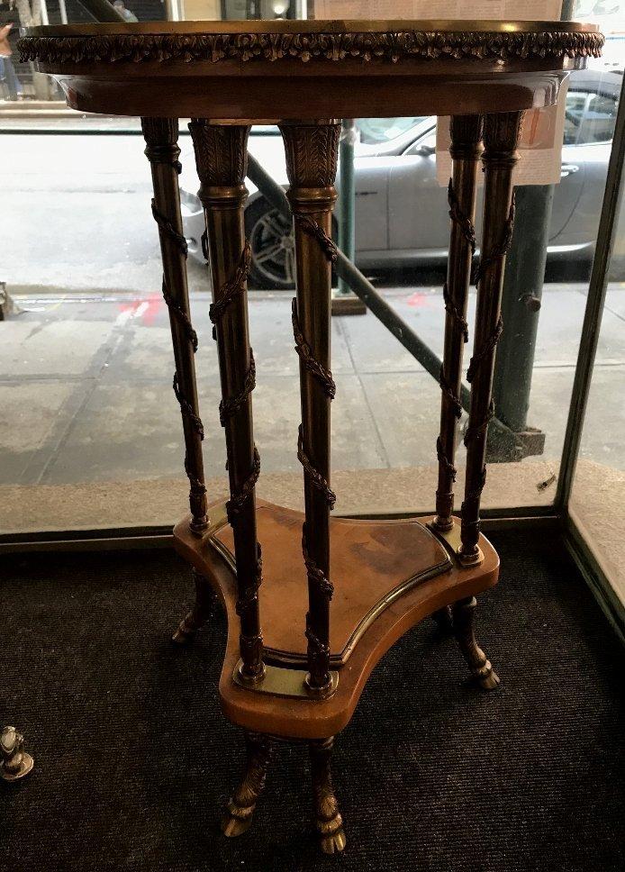 Circular wooden table w/ goat hoof bronze legs, c 1950 - 3