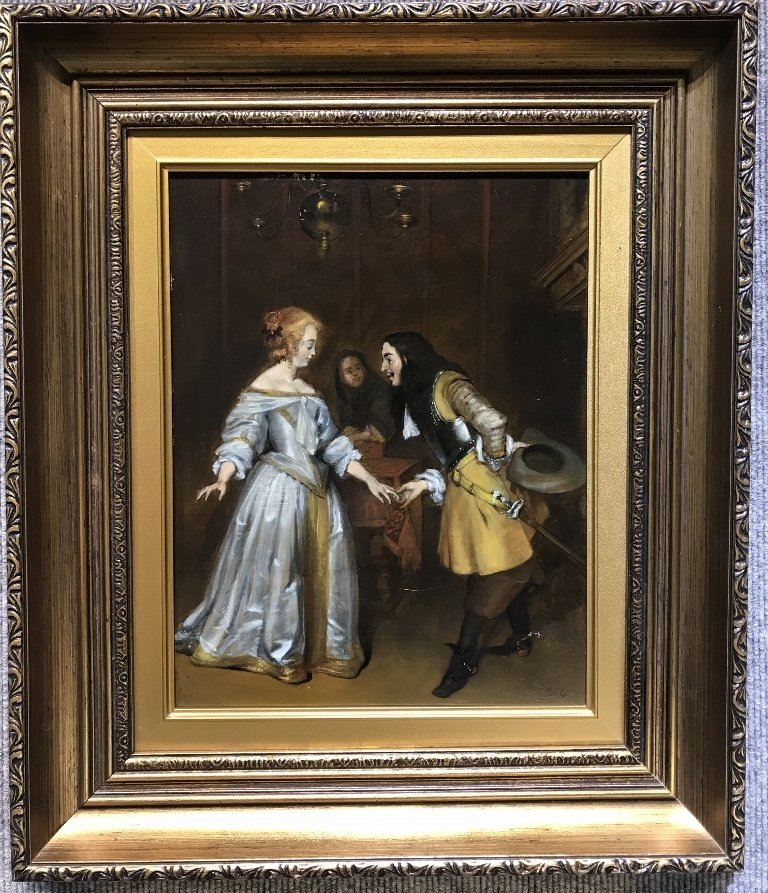 "Old Master ptg, signed illegibly, ""The Proposal"""