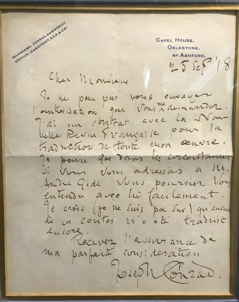 Letter signed by Joseph Conrad and dated 1918 - 2