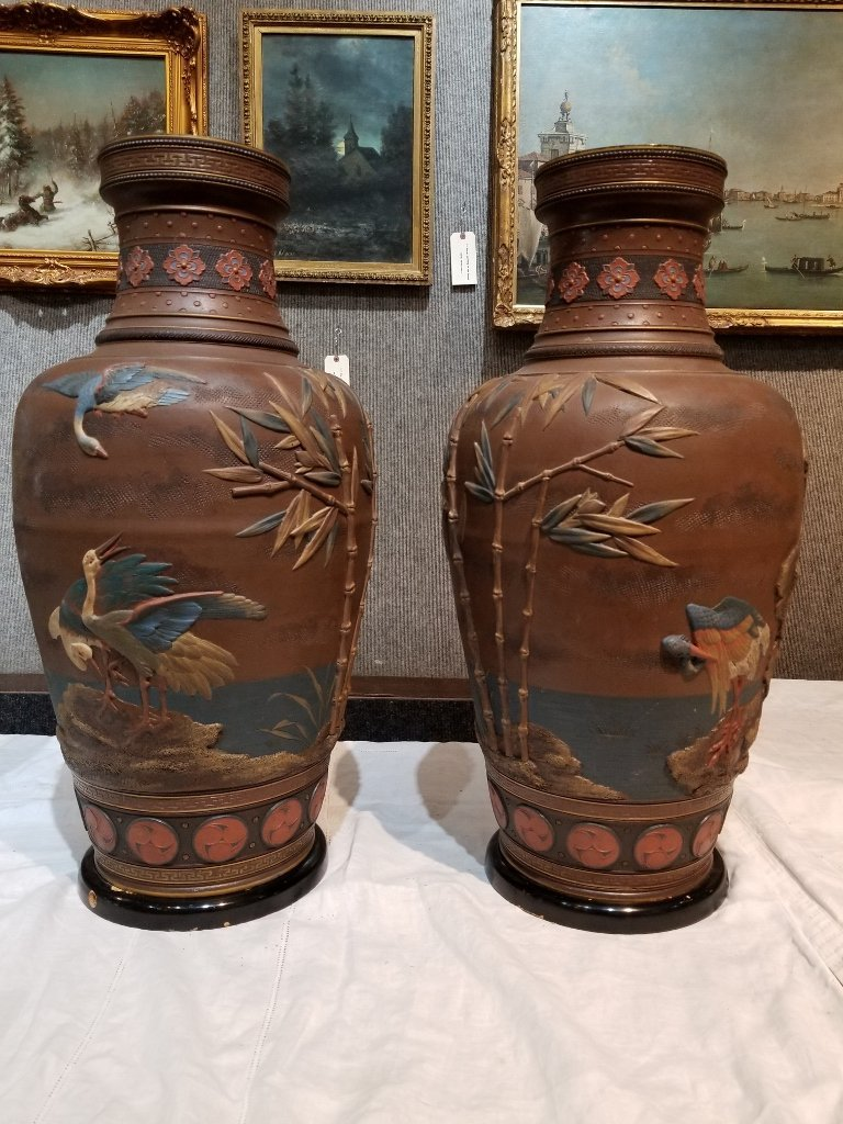 Pair of Mettlach Japanese style ceramic vases, c.1880