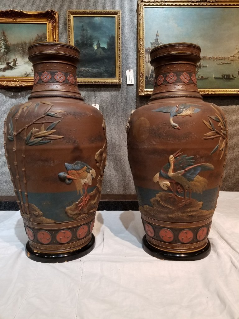 Pair of Mettlach Japanese style ceramic vases, c.1880 - 2