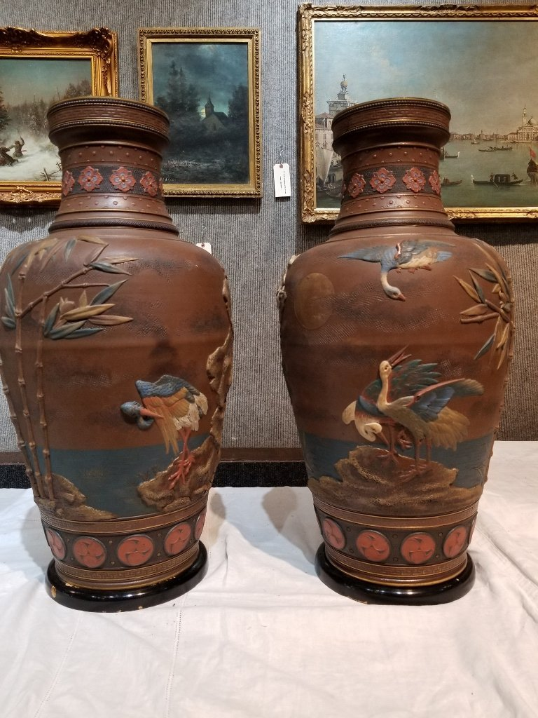 Pair of Mettlach Japanese style ceramic vases, c.1880 - 3