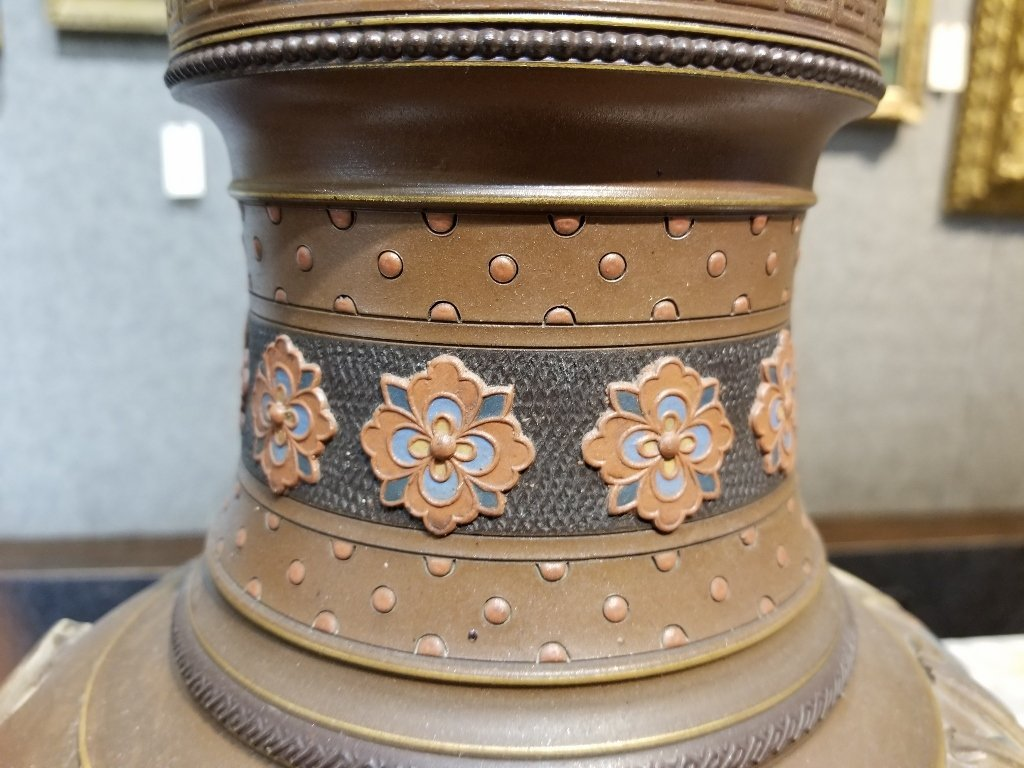 Pair of Mettlach Japanese style ceramic vases, c.1880 - 5