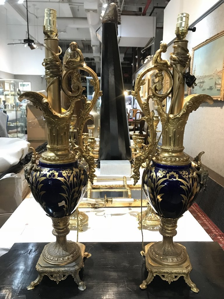 Pair of ceramic and gilt metal lamps, c.1880