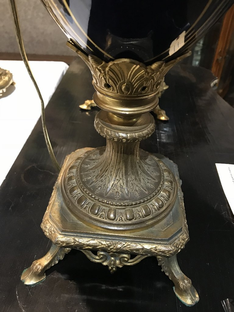 Pair of ceramic and gilt metal lamps, c.1880 - 3