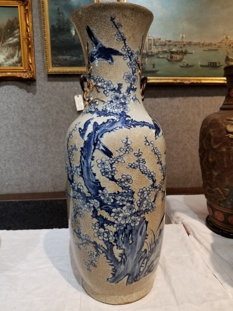 Tall Chinese vase with handles, c.1900
