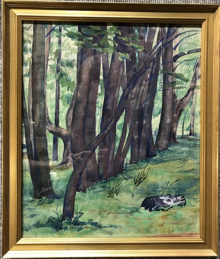 Watercolor of forest-Ambassador Estate-c.1900