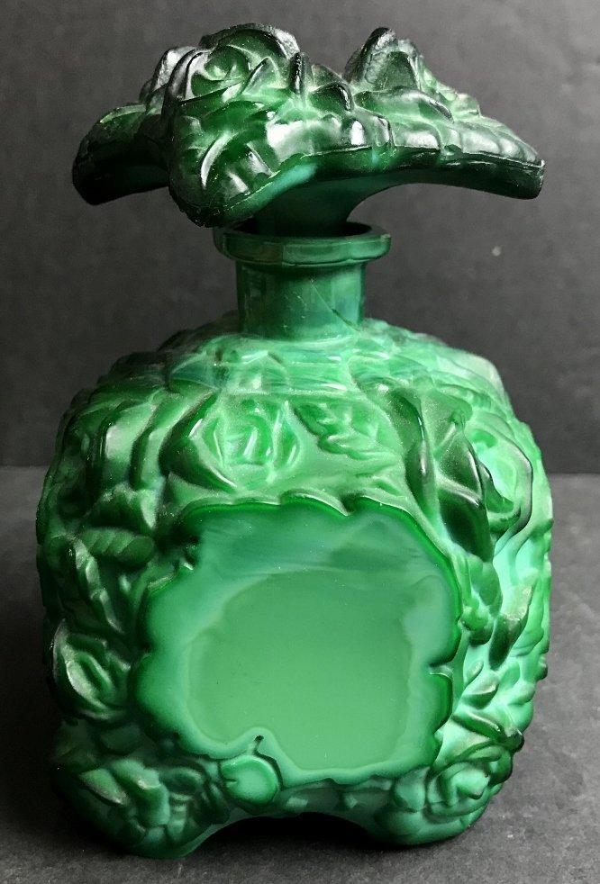 Malachite glass scent bottle, circa 1935