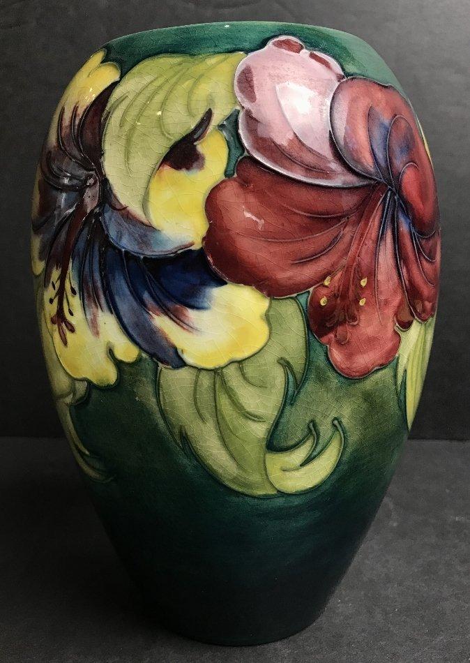 Moorcroft vase, green background, c.1930