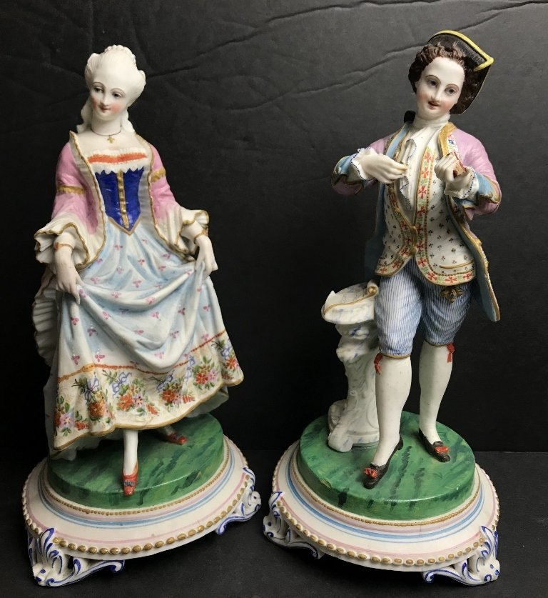 Pair of painted bisque figurines, c.1880