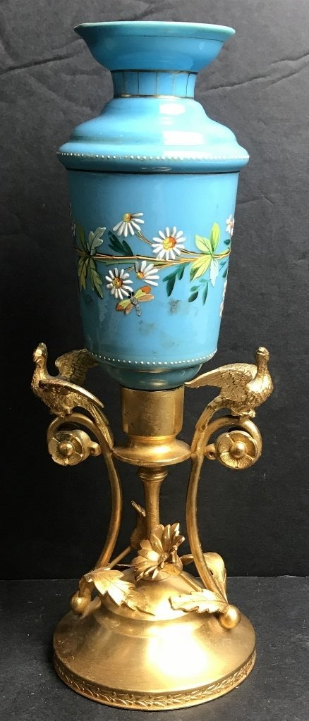 Enameled blue glass vase, c.1900