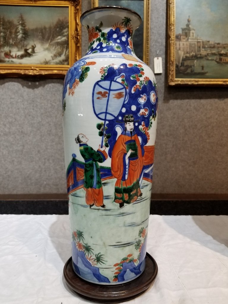 Tall Chinese porcelain vase with figures, 19th c